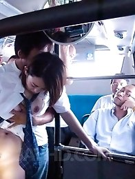 Yuna Satsuki Asian has firm cans touched and sucks dicks in bus