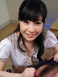 Mizutama Remon Asian in uniform licks and sucks boner at school