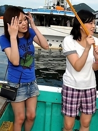 Really hot Japanese girls on a boat