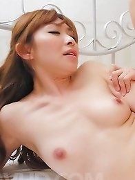 Koda Riri Asian touches dong of her boobs and rides it big time