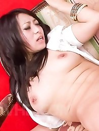 Nana Kunimi has cunt fingered before sucking and riding boner
