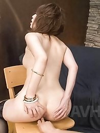 Sayaka Tsuzi Asian has love box rubbed before she rides shlong
