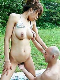 Asuka Ishihara Asian rubs cock with big boobs and feet outdoor