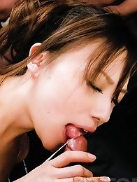 Aiko Hirose Asian is fucked with dildos and puts vibrator on cunt