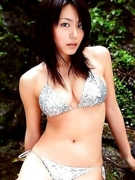 hottie Yukie Kawamura has her big plump breasts wrapped in a bikini