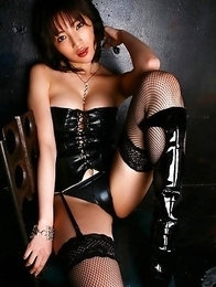 Yuuri Morishita with sexy legs has generous jugs in latex corset