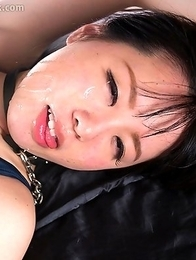 Face fuck slut Yuka Shirayuki wears her school swimsuit to bath in throat slime from her mouth getting fucked hard.