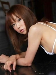 Saki Ninomiya shows bee stings and cunt in white lingerie