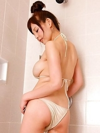 Kaori Sato with big round assets is playful in the water