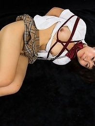 Japanese schoolgirl whore Chiaki Kitahara gets tied up but she still wants cock stuffed in her mouth.