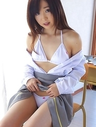 Mio Ayame almost takes bikini off while showing her body