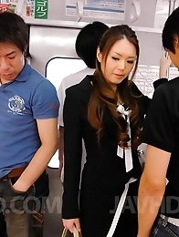 China Mimura Asian is touched all over and gets cum from tools