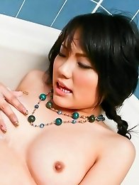 Haruna Katou Asian rubs her pussy with soap and has tits sucked