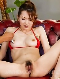 Yui Hatano in red lingerie is fucked with vibrators and gets cum