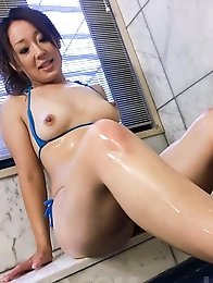 Ruhime Maiori gets cum in mouth after rubbing dick with her feet