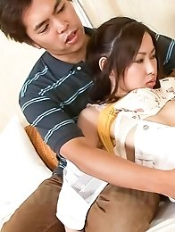 Chie Inamori Asian gets vibrator and hard shlongs in hairy crack