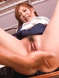 Yura Kasumi Asian gets vibrator and fingers in nooky from dudes
